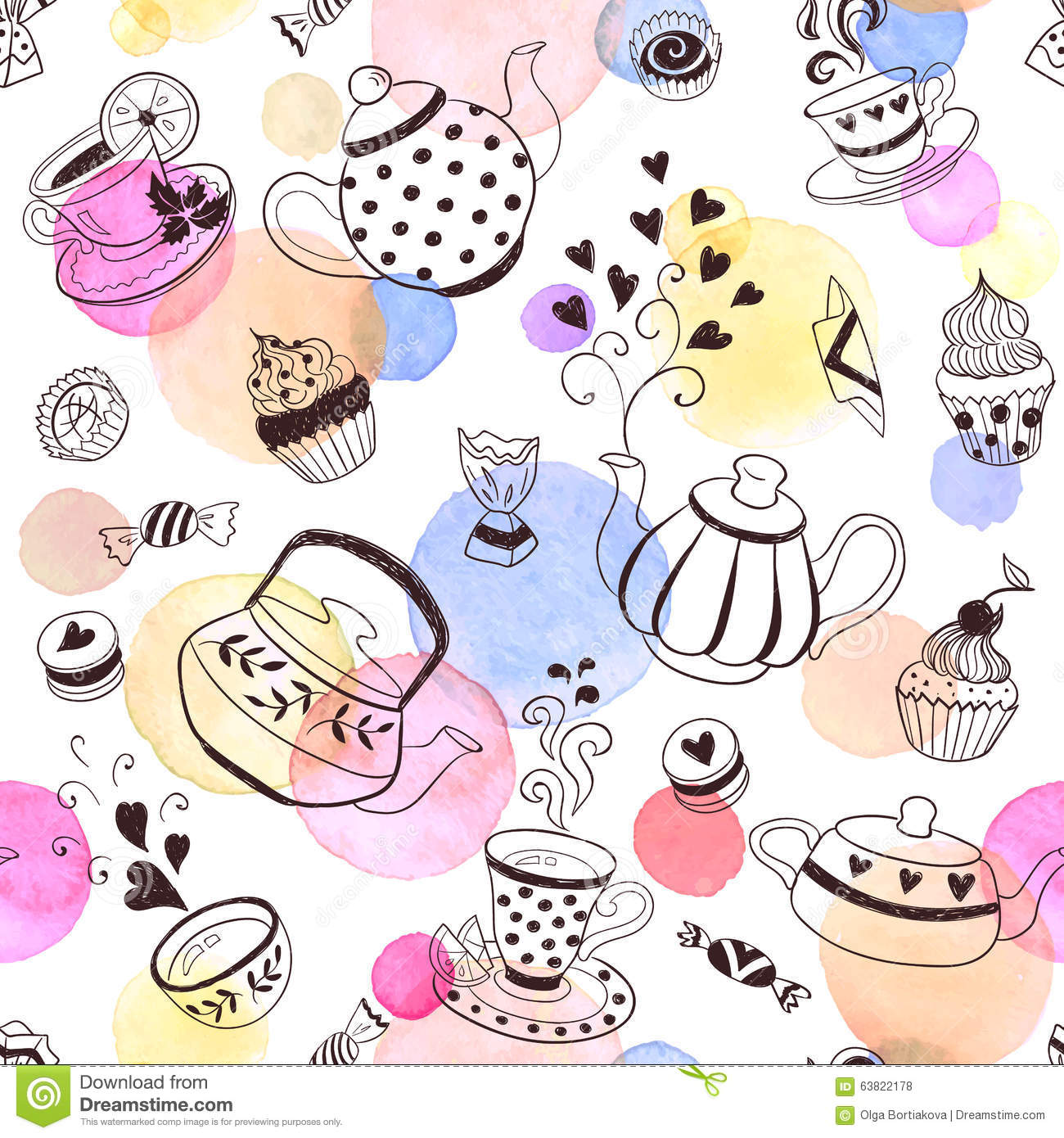 Kitchen Tea Background: Tea Time Background Stock Vector
