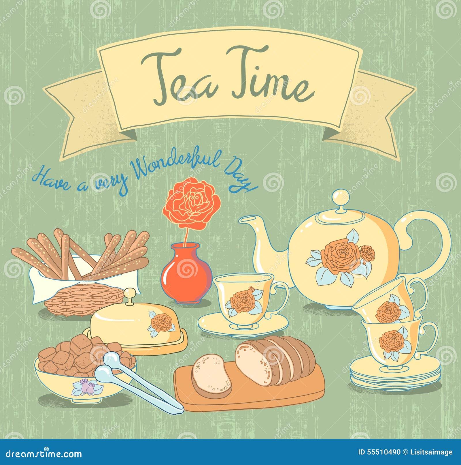 tea time beauty vintage background vector stock illustration image 55510490. Black Bedroom Furniture Sets. Home Design Ideas