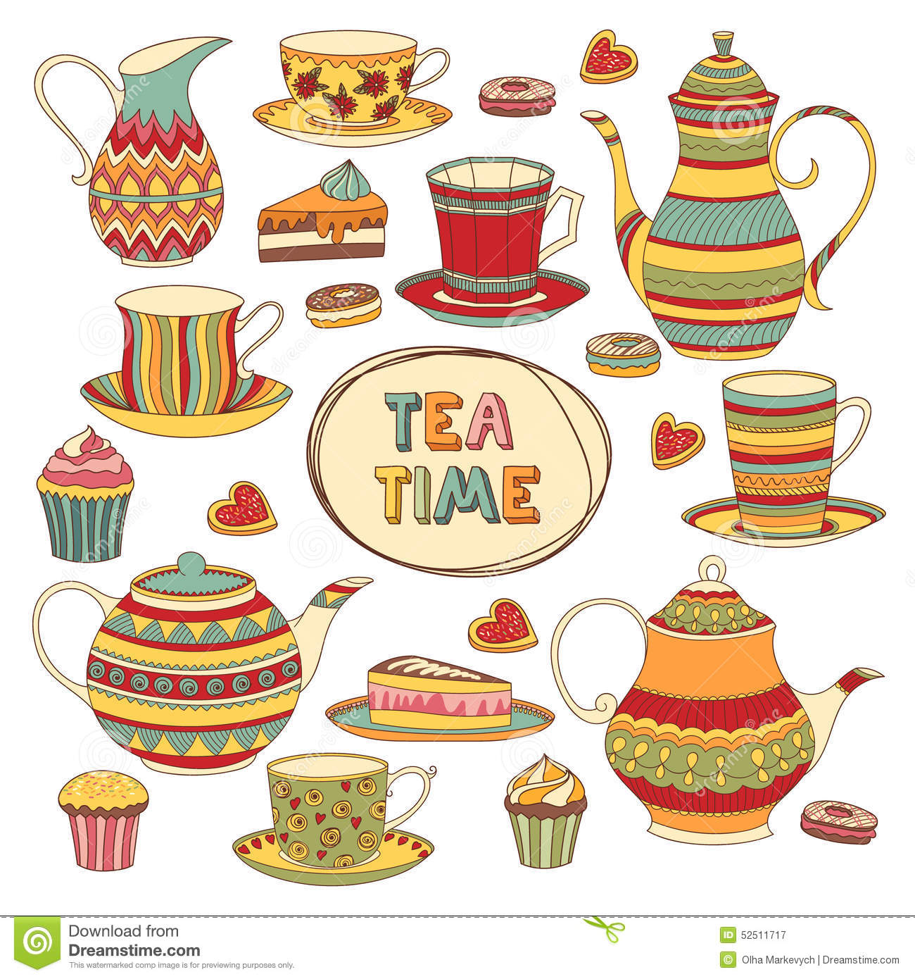 Tea Time Stock Vector Image 52511717
