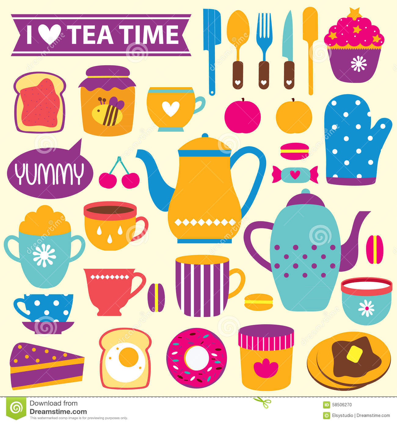 Tea Time Clip Art Set Stock Vector