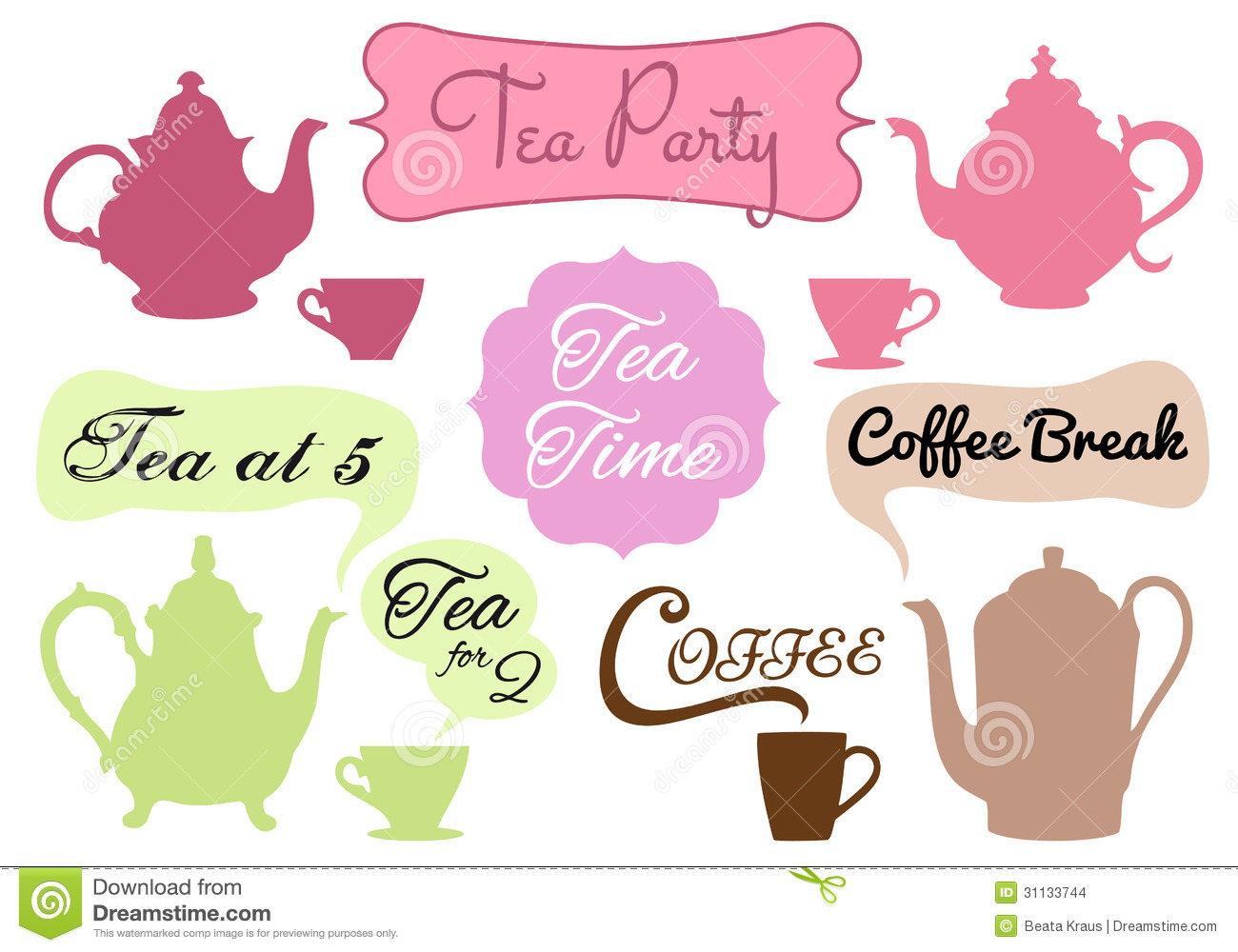 Tea Time Coffee Break Vector Stock Images Image 31133744