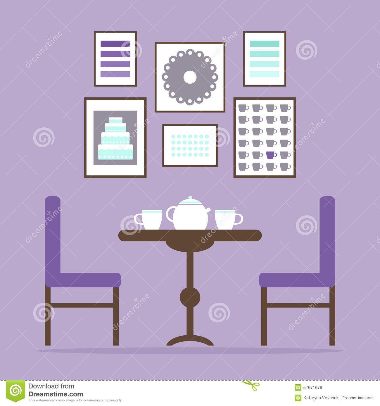 Tea Time In The Dining Room Interior With Table Chairs Cups And Pictures