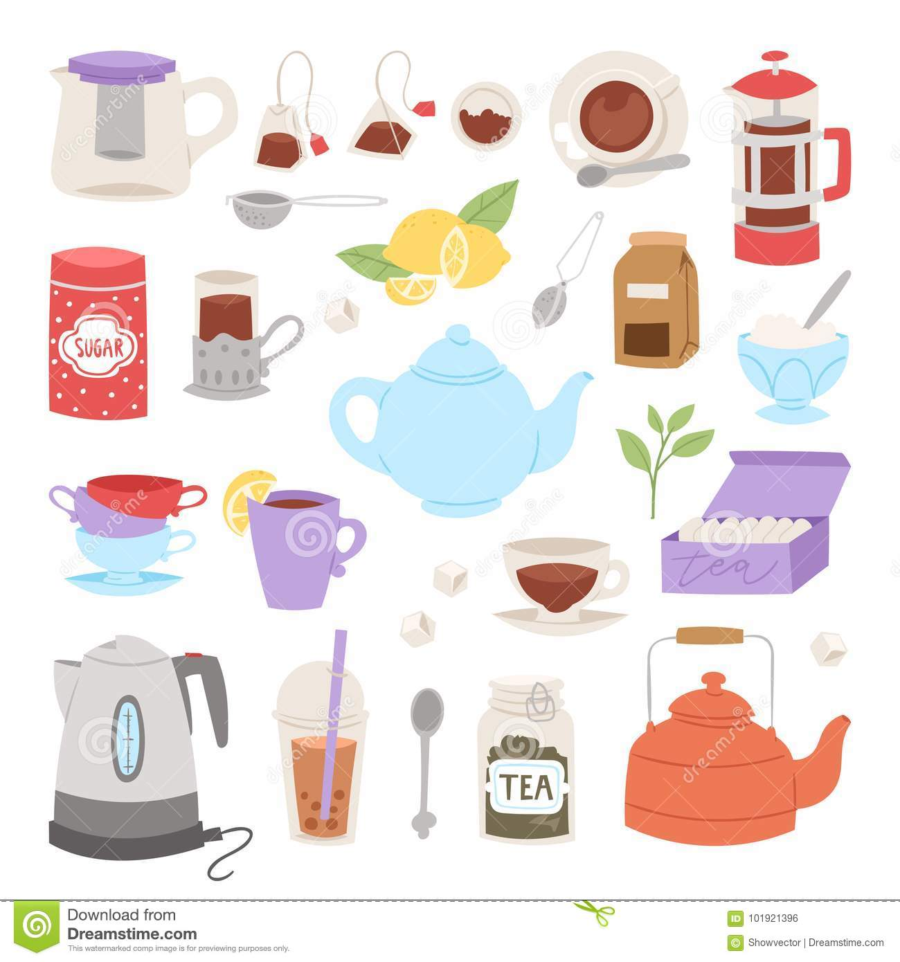 Tea time drinking procedure icons how to prepare hot drink instruction traditional teapot kettle cooking vector