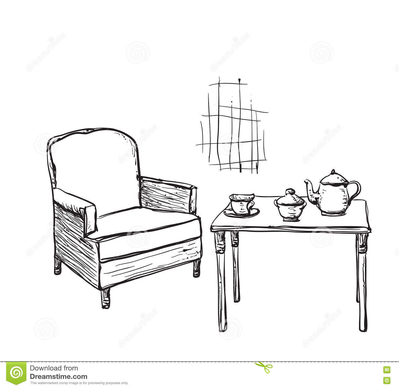 Black and white chair drawing - Hand Drawn Chair And Table Hand Drawn Black And White