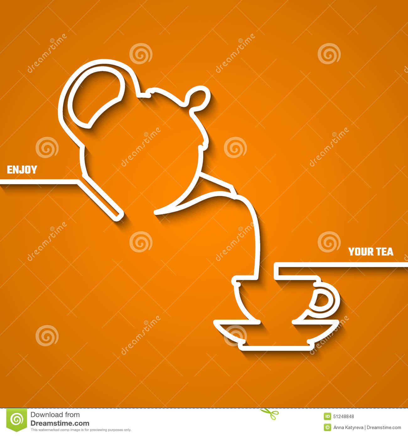 Tea Time Line Stock Vector Image 51248848