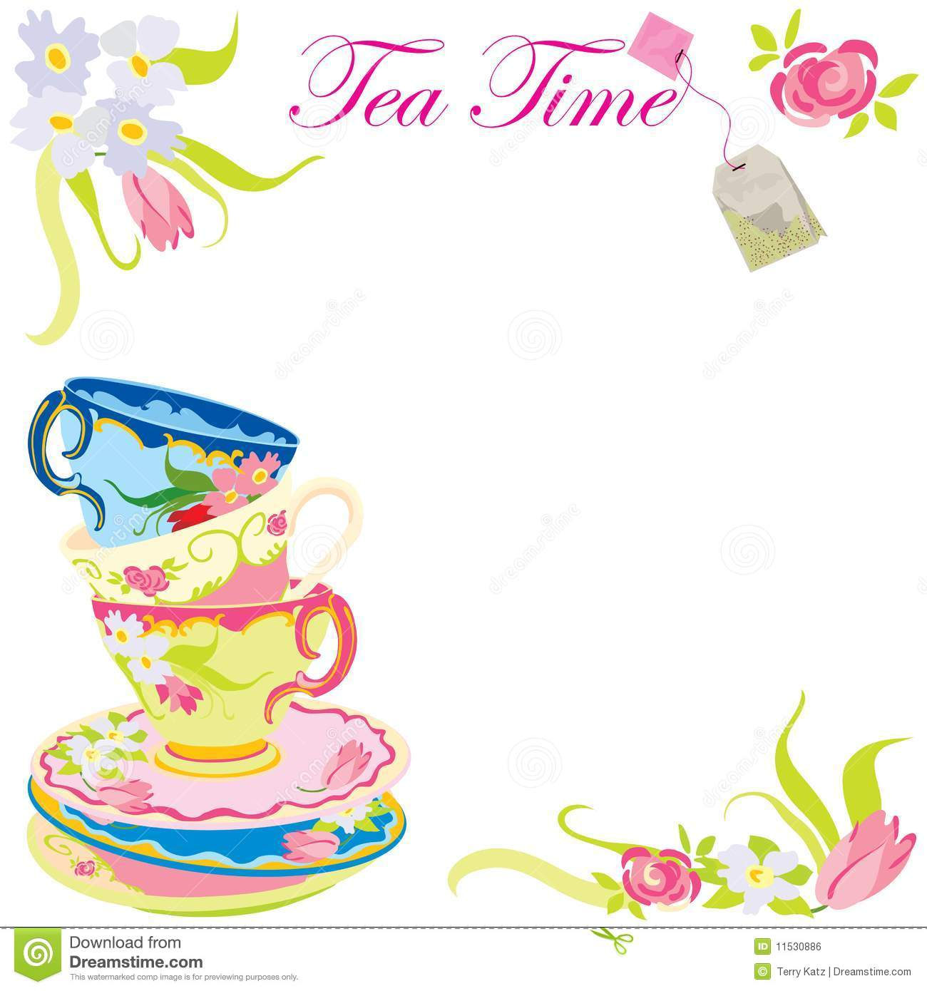 Tea TIme party invitation. stock vector. Illustration of background ...