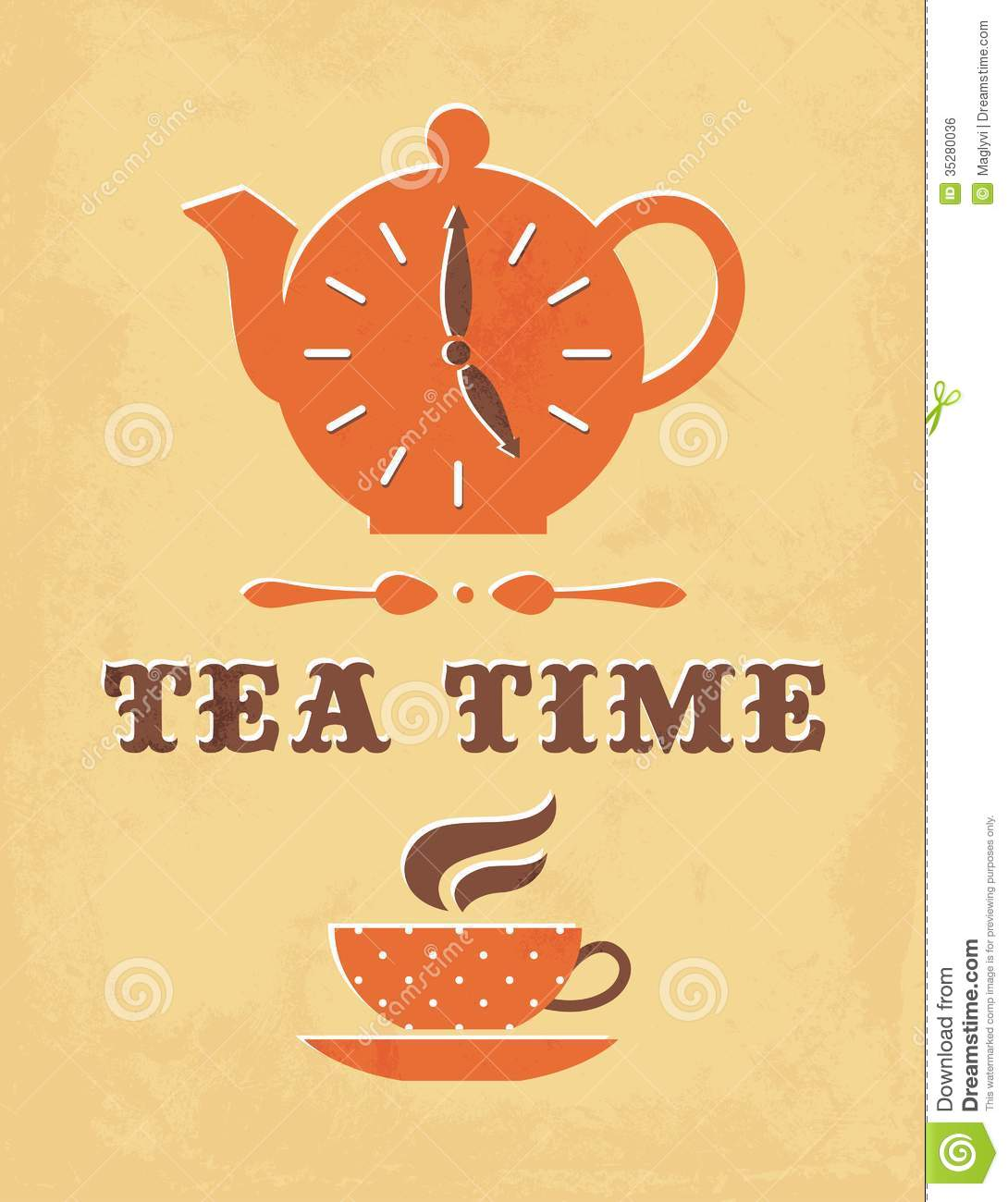 Retro illustration of teapot with clock face and tea cup in vector.
