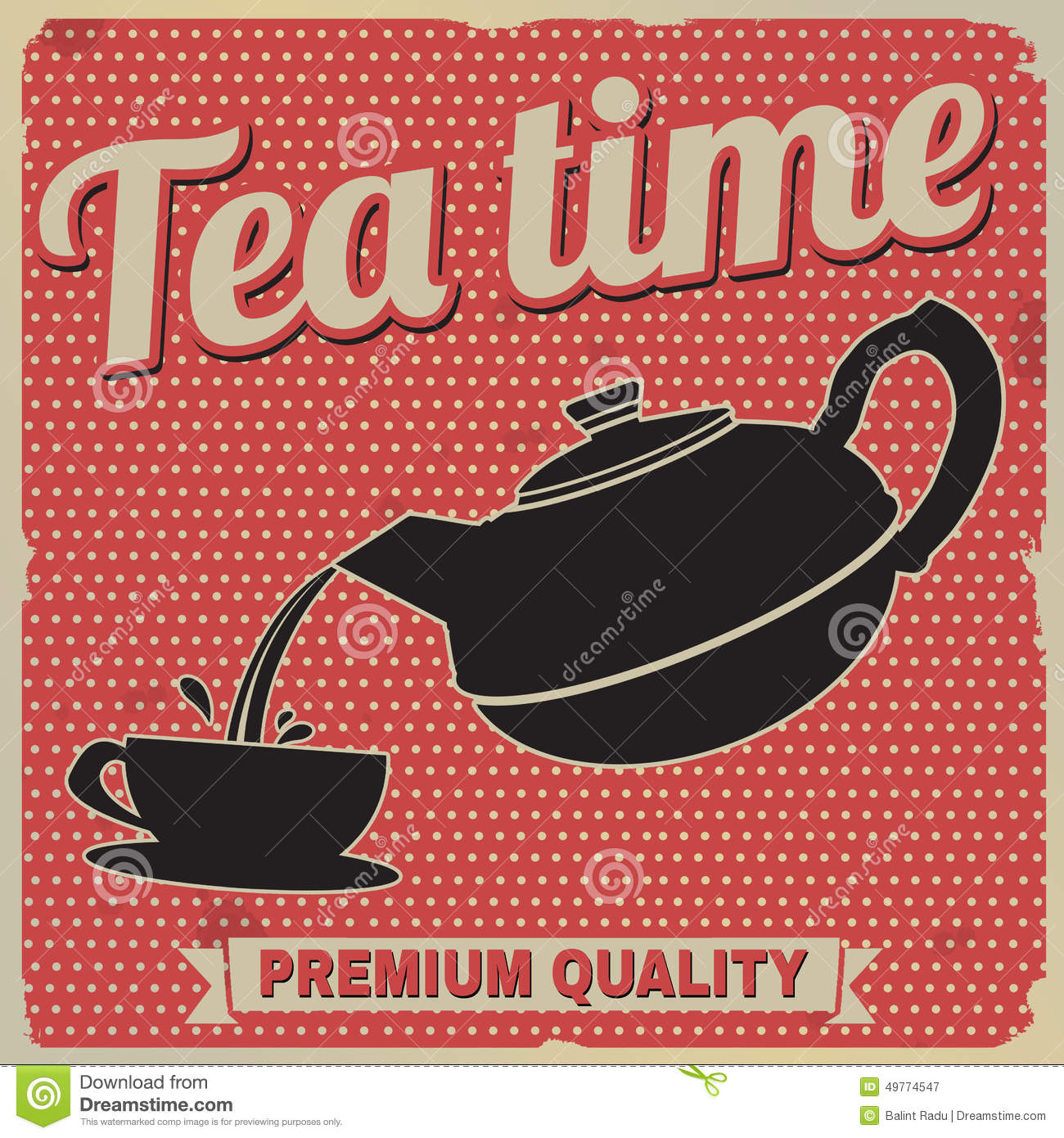 Tea Time Retro Poster Stock Vector Illustration Of Coffee