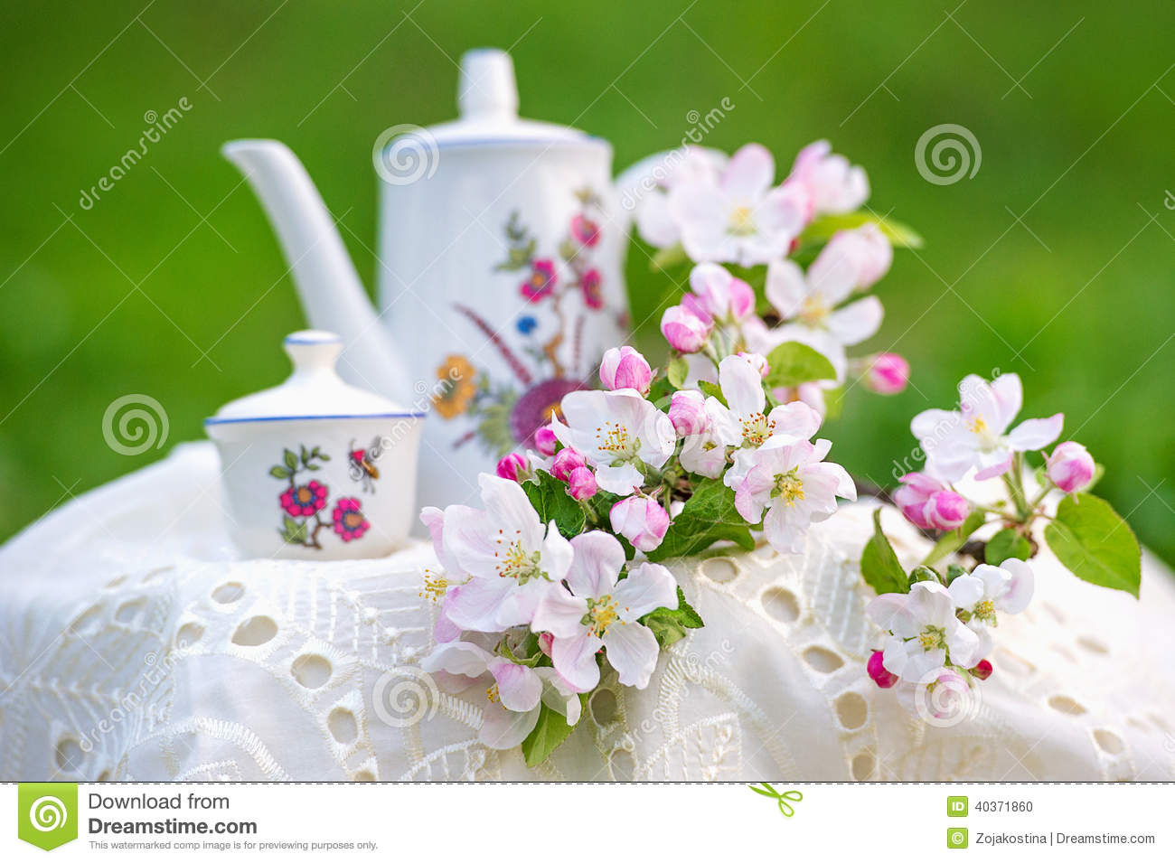Tea Time In The Spring Garden With Tree Blossom Stock
