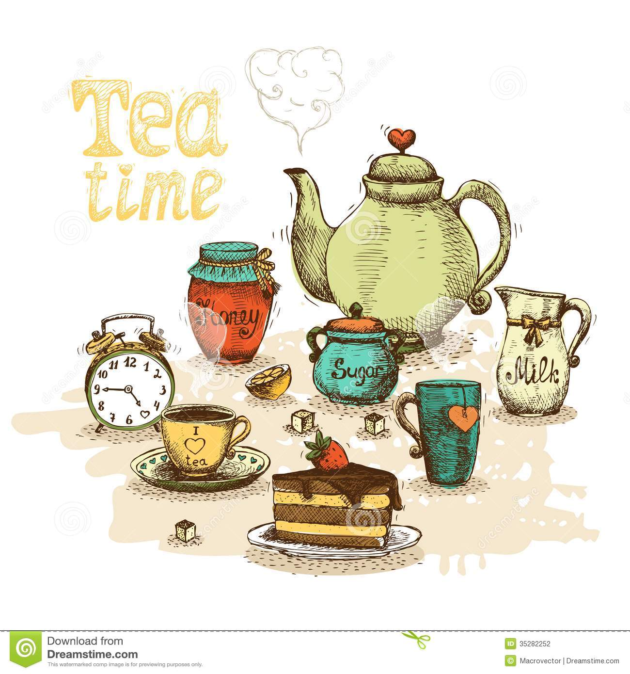 Download Tea time still life stock vector. Illustration of alice - 35282252