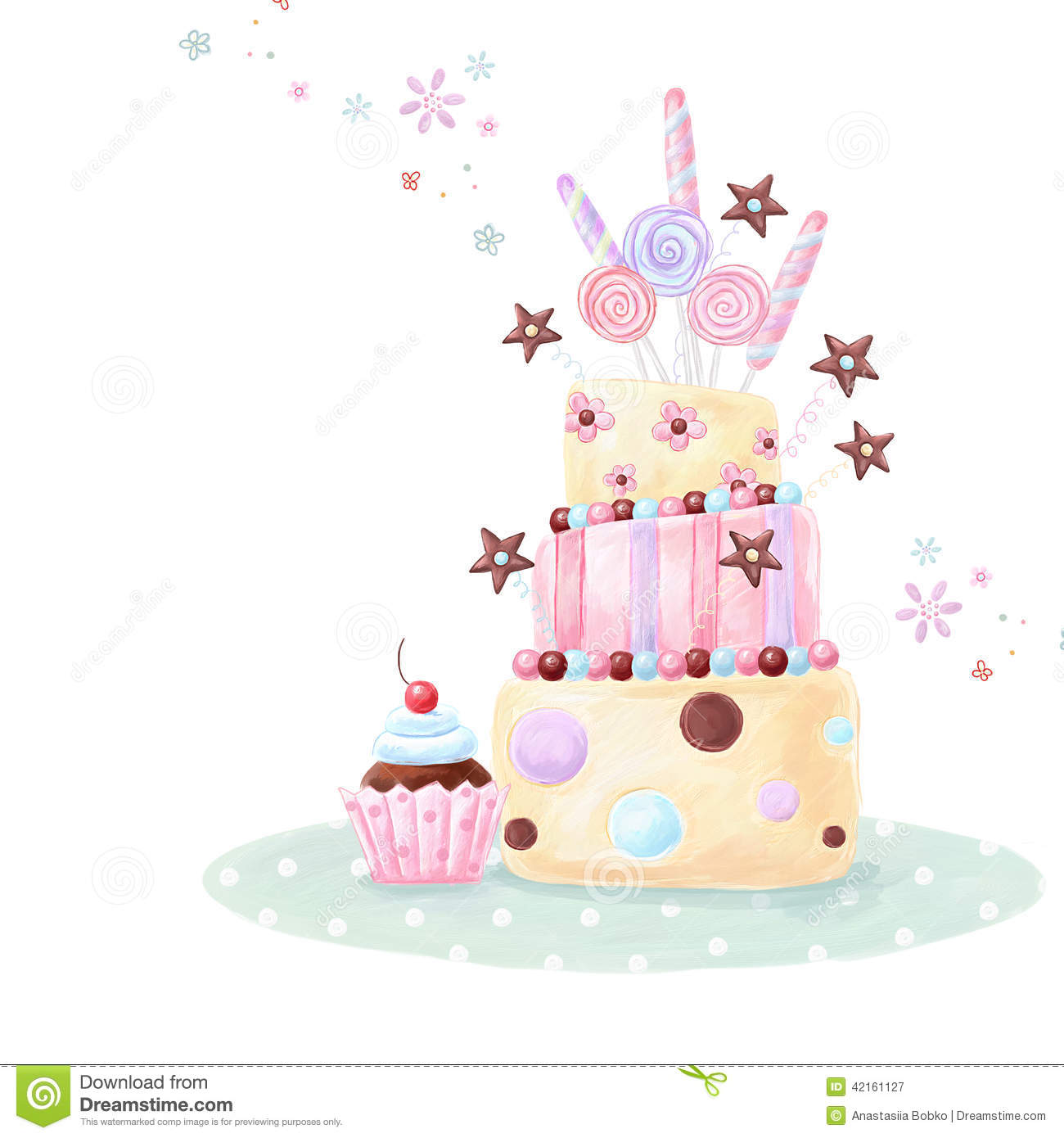 Illustration Made Of Birthday Cake Sweets And Cupcake