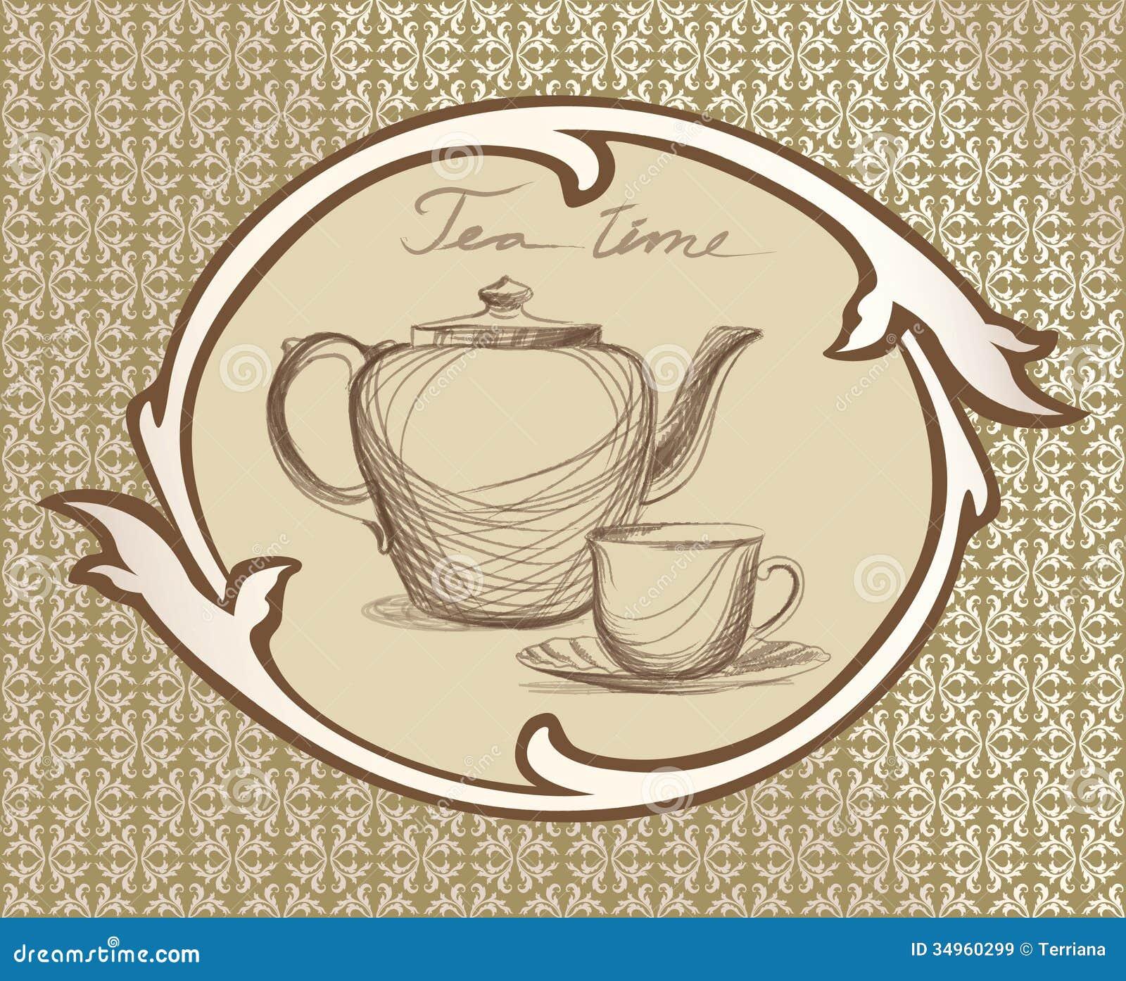 tea time vintage label stock illustration image of party 34960299. Black Bedroom Furniture Sets. Home Design Ideas