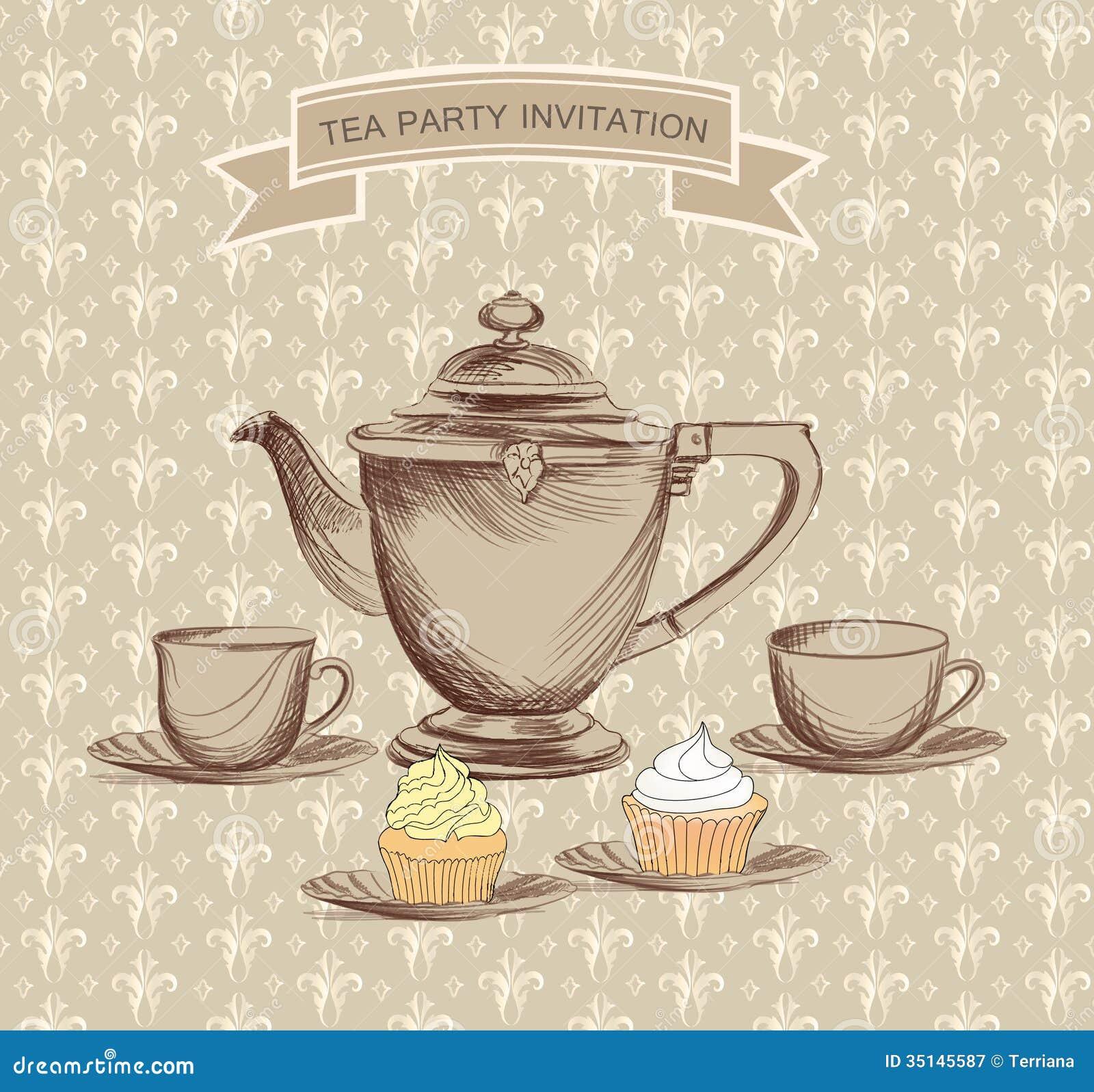 tea time vintage label vector victorian illustration stock illustration illustration of. Black Bedroom Furniture Sets. Home Design Ideas