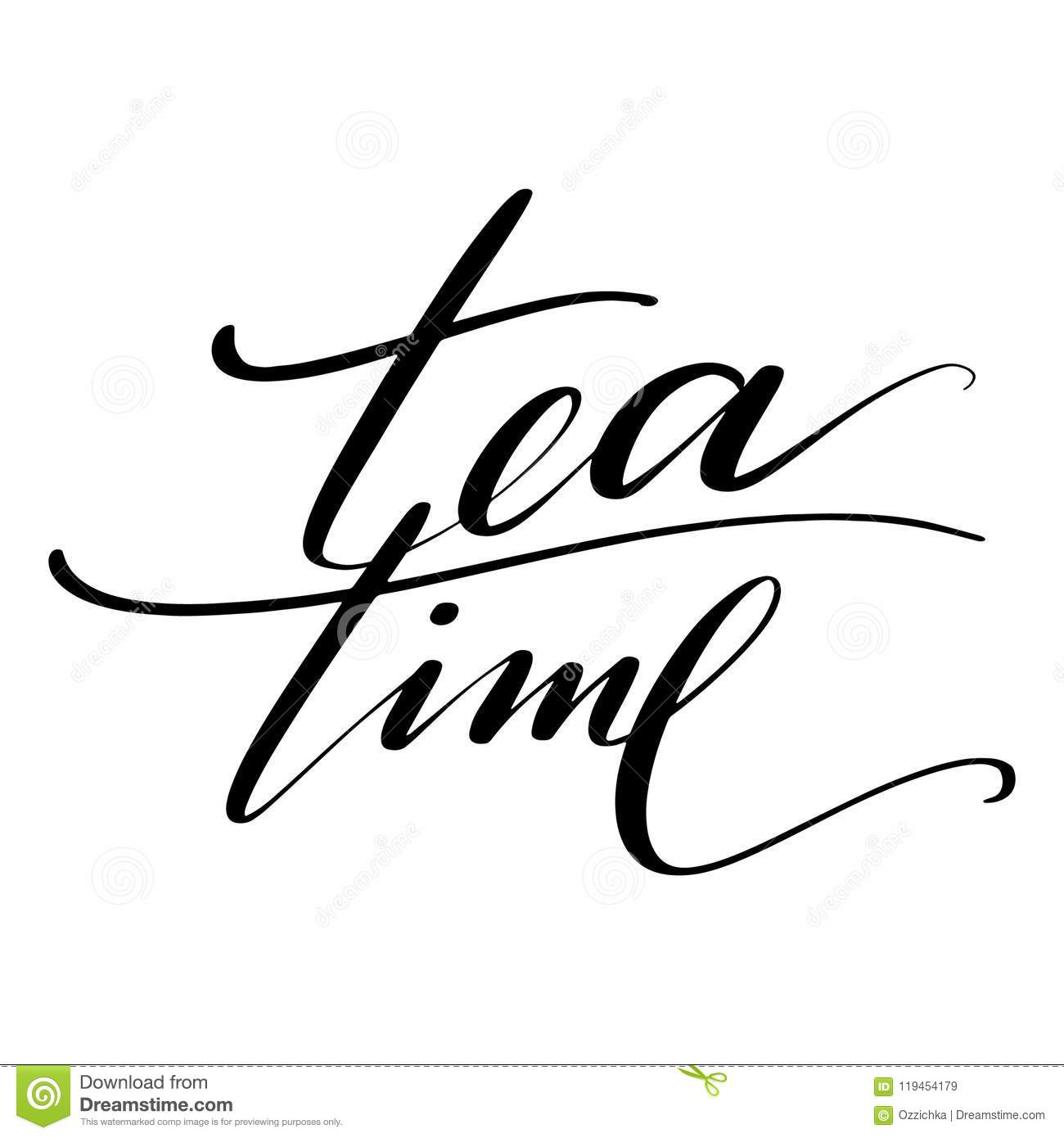 Tea Time Words Hand Drawn Creative Calligraphy And Brush Pen