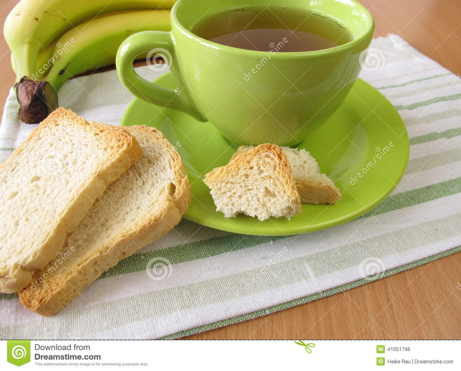 Tea and twice baked crisp bread and banana