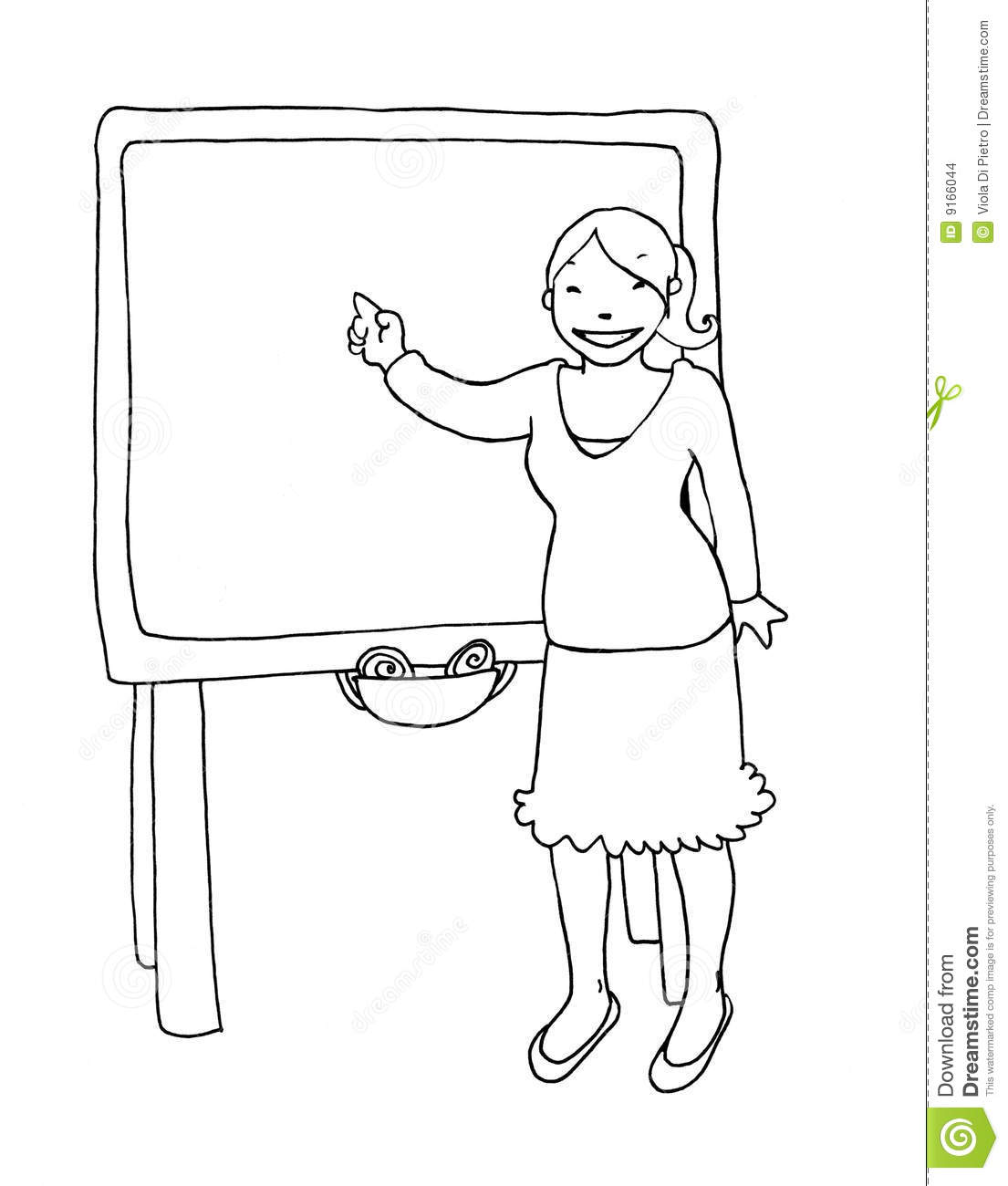 teacher at the blackboard black and white stock illustration