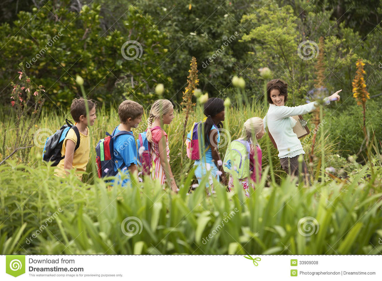 Teacher With Children On Field Trip Royalty Free Stock ...