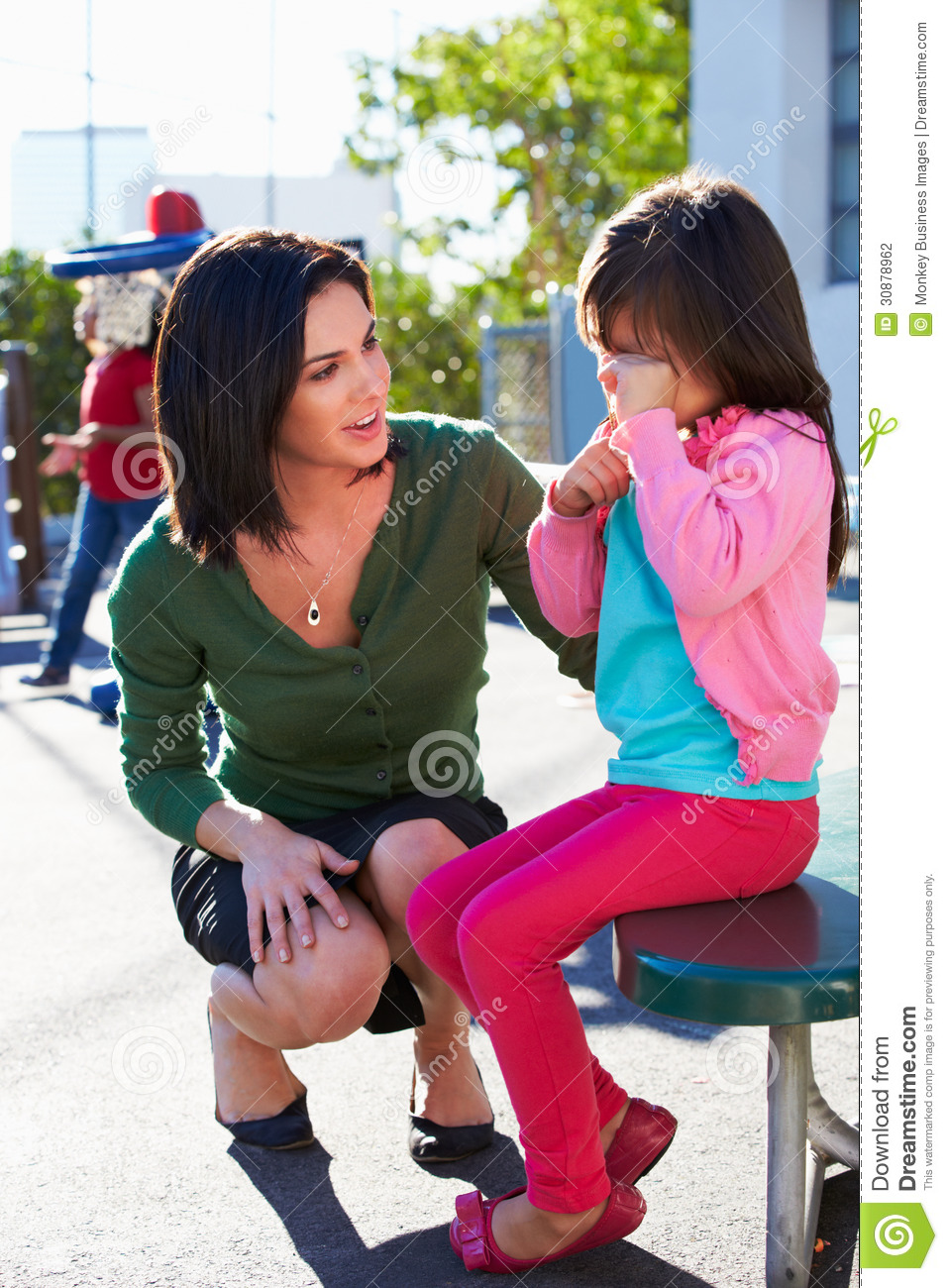 Teacher Comforting Upset Elementary School Pupil Stock Photography ...