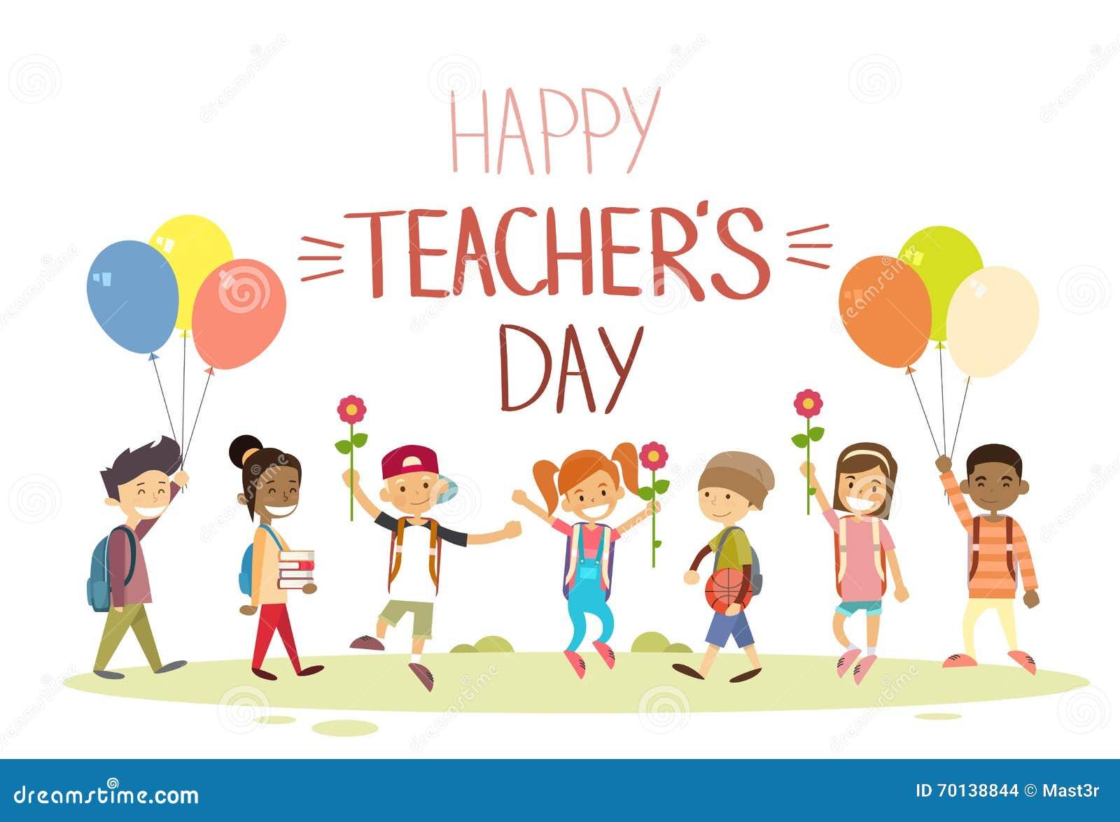 Teacher Day School Children Group Hold Flowers Balloons ...