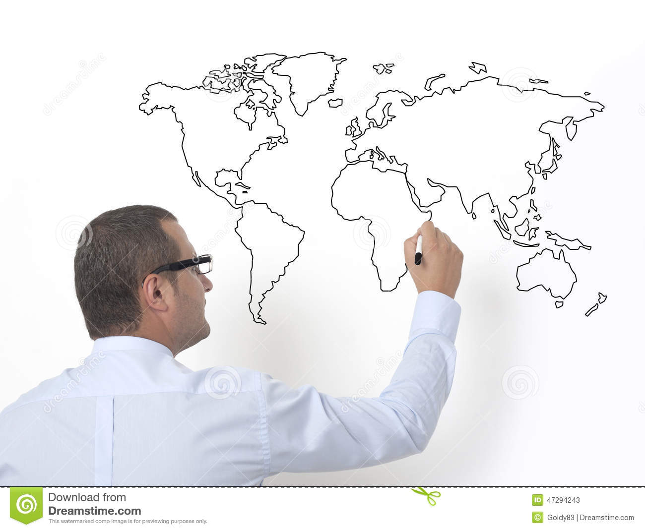 Teacher Drawing The World Map Stock Image - Image of professor, felt on