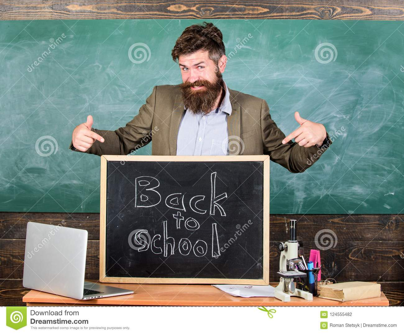 Teacher experienced educator welcomes new enrollees to begin study and get education. Welcome back to school. Teacher or