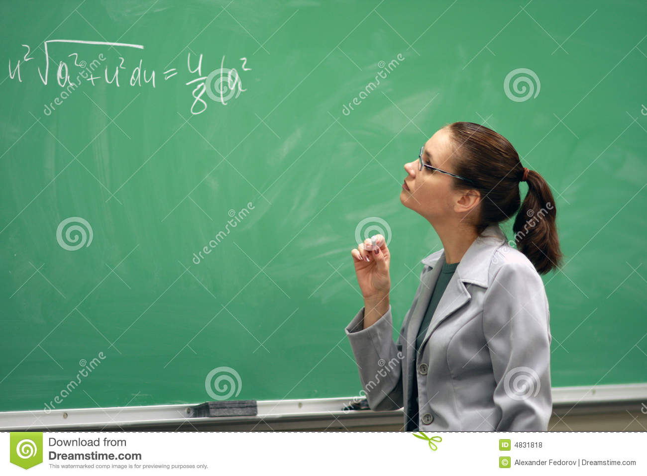 Teacher and the greenboard