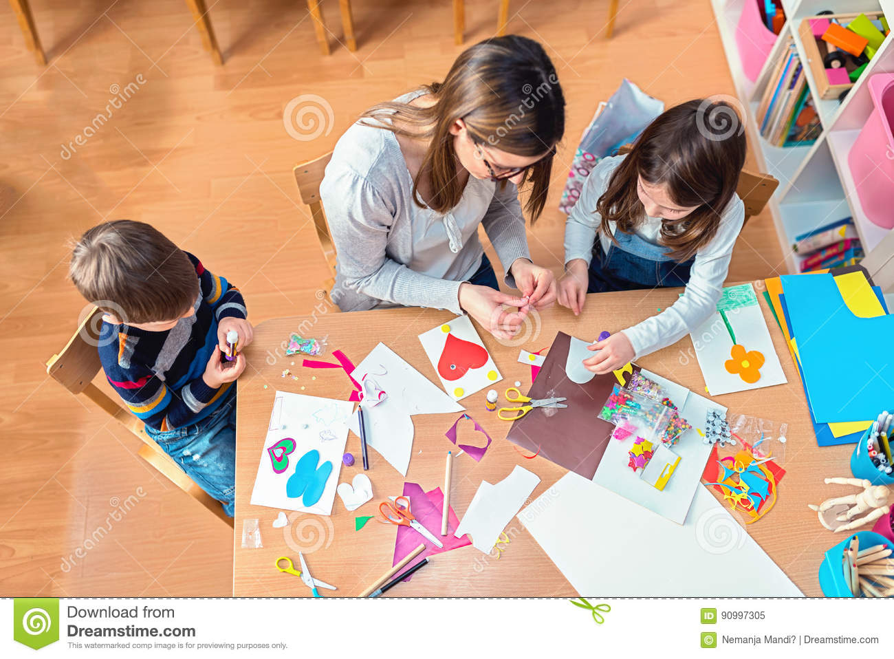Teacher And Kids Having Fun And Creative Time Together Stock Image