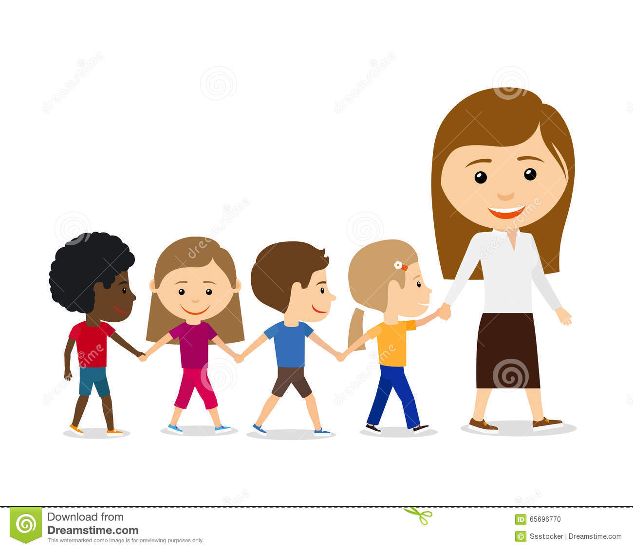 Teacher With Kids On White Background. Stock Vector ...