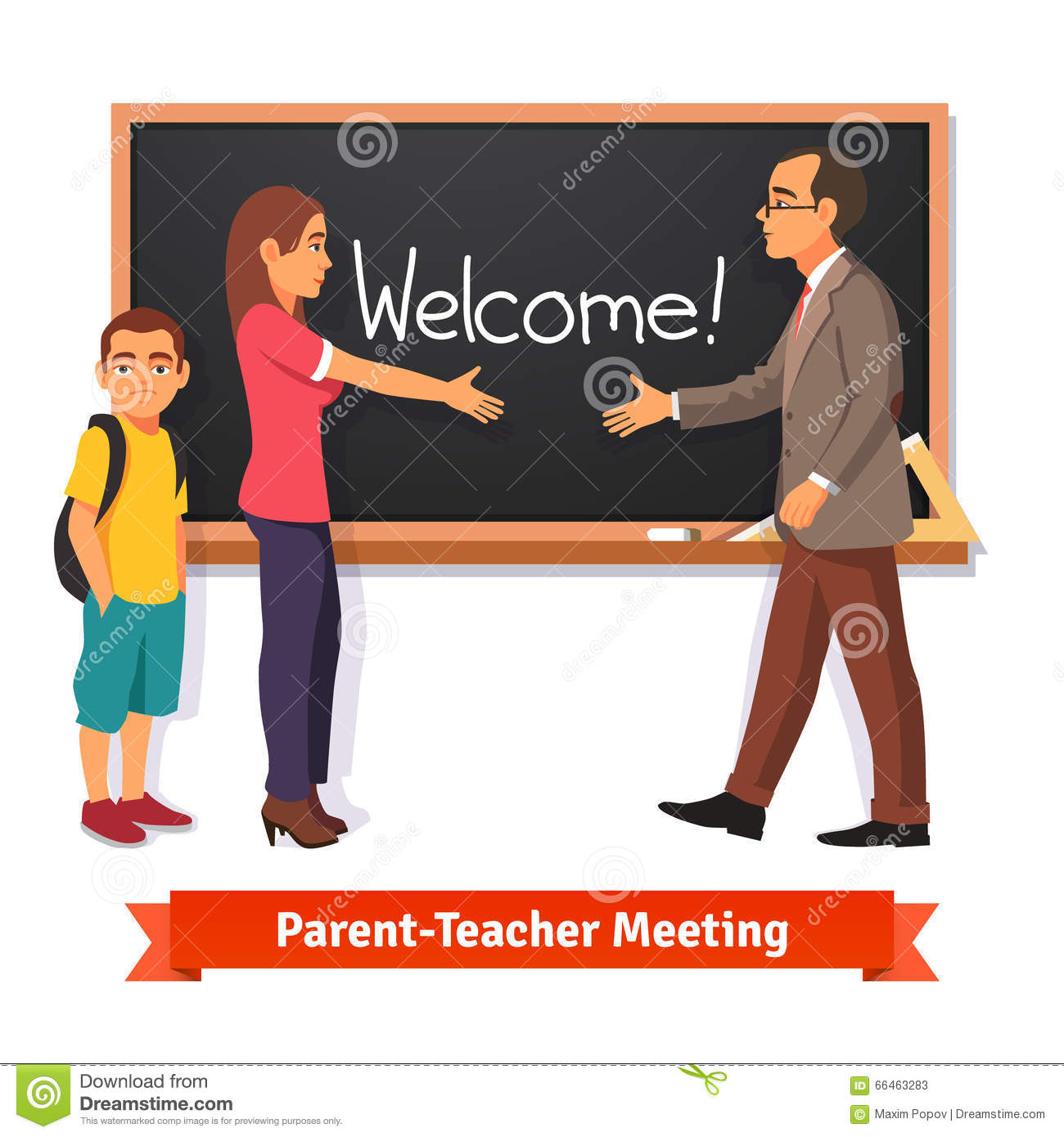 Schools Education6 25 18students: Teacher And Parent Meeting In Classroom Stock Vector