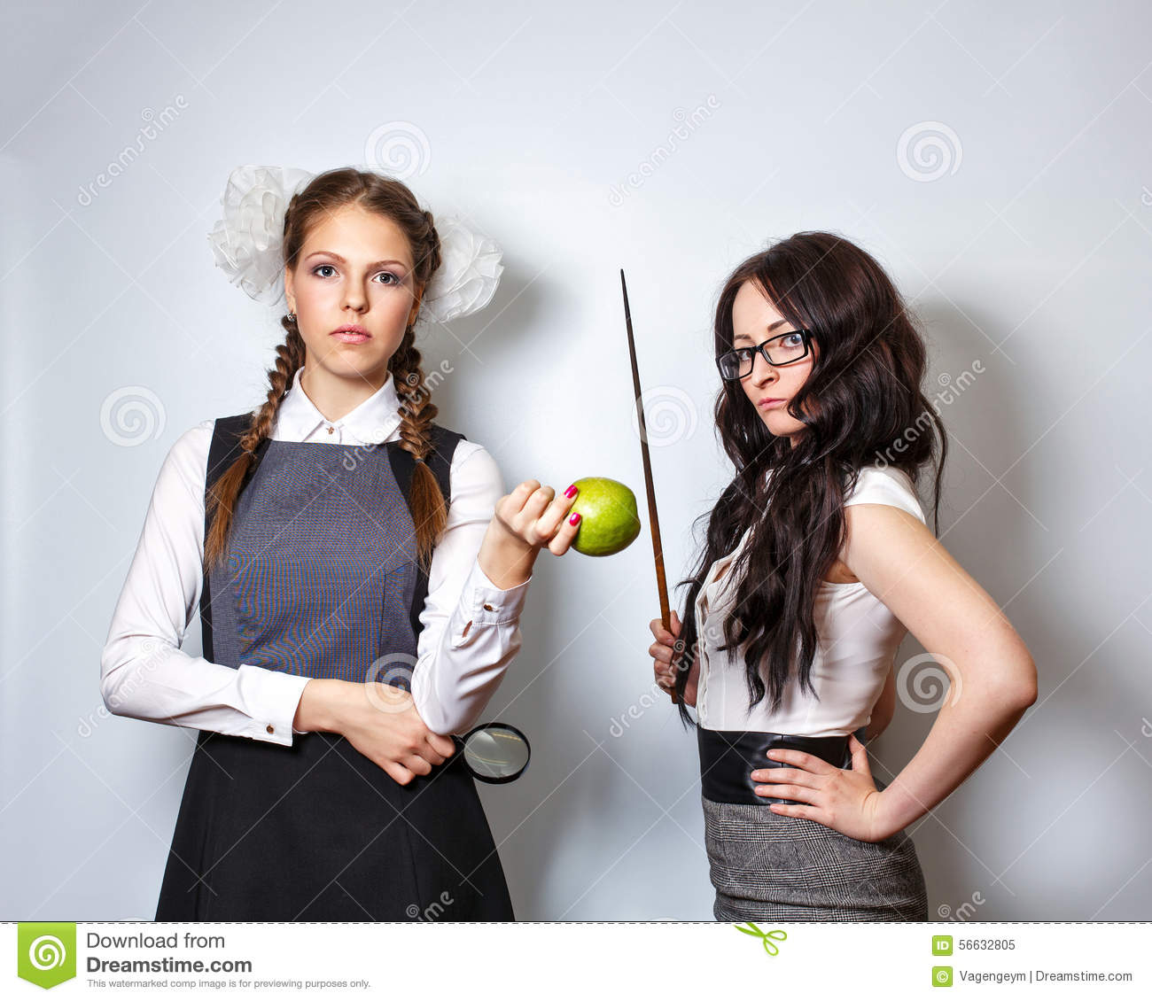 Teacher With Pointer Schoolgirl With Magnifying Glass And Apple