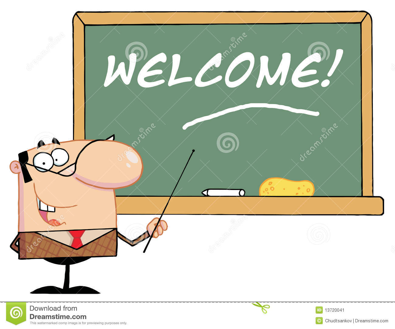 Stock Image Teacher Pointing To Wel e Chalkboard Image13720041 on cartoon people tripping