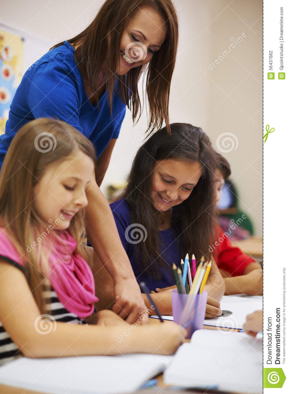 Very Helpful Person: Teacher With Pupils Stock Photo
