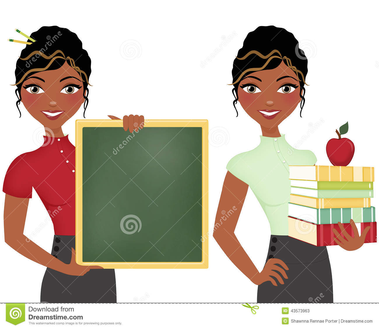African American teacher, double clip art set, holding books and apple ...
