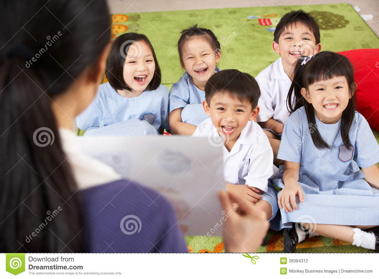 Teacher Showing Painting To Chinese Students Stock Photo ...