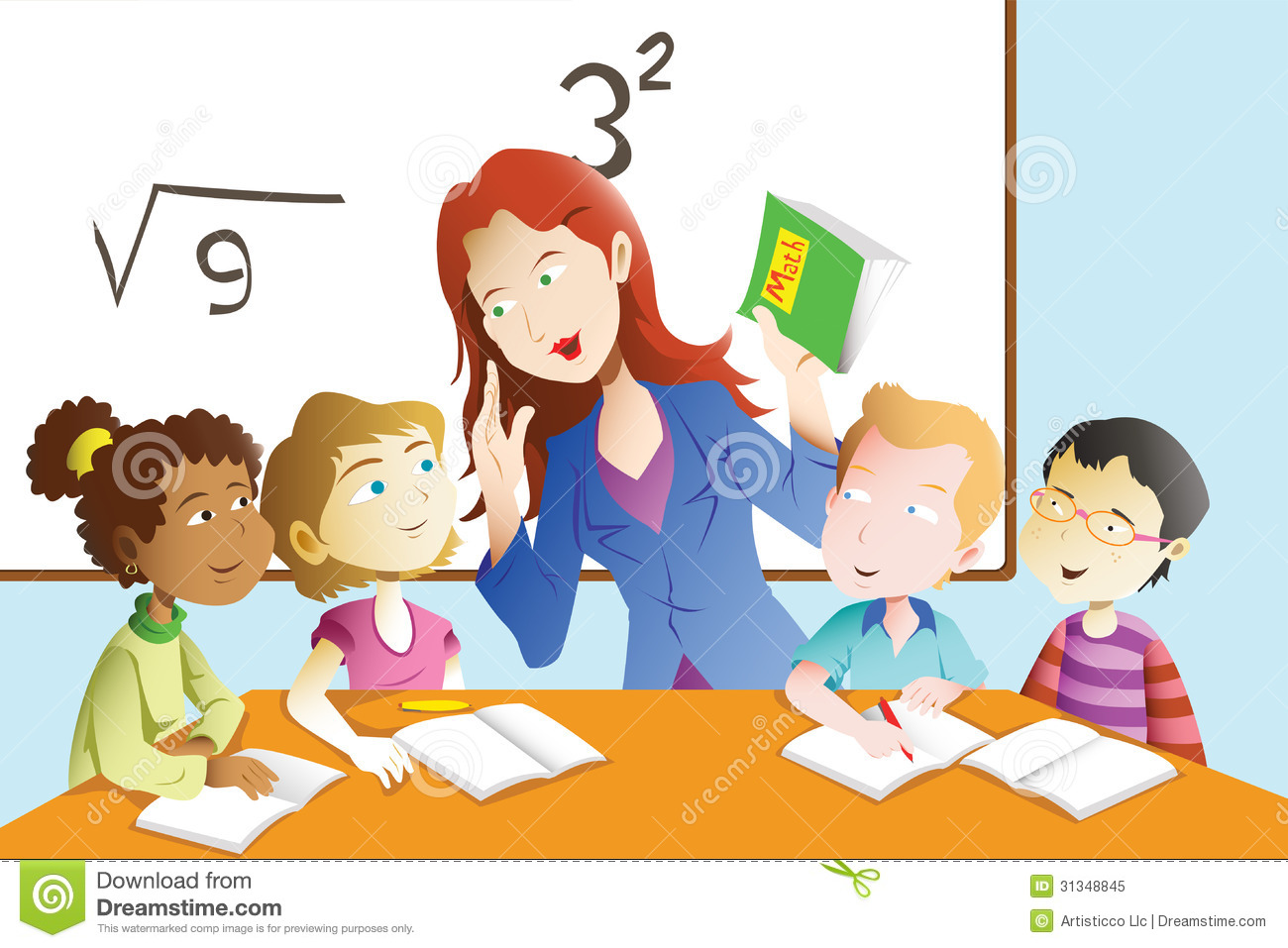 teacher and student in the classroom stock vector illustration of rh dreamstime com Free Clip Art Teachers Working with Students Clip Art