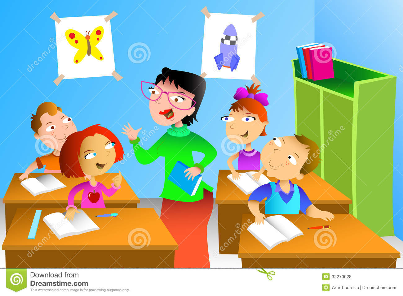Teacher And Student In The Classroom Stock Vector - Illustration of ...