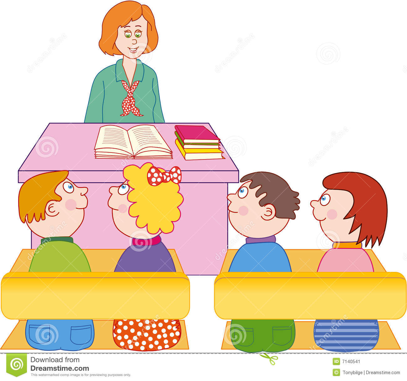 teacher and students stock vector. illustration of drawing - 7140541
