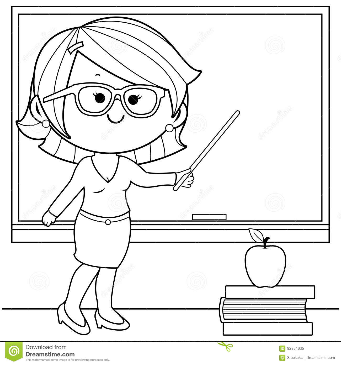 teacher teaching at class coloring book page. stock vector