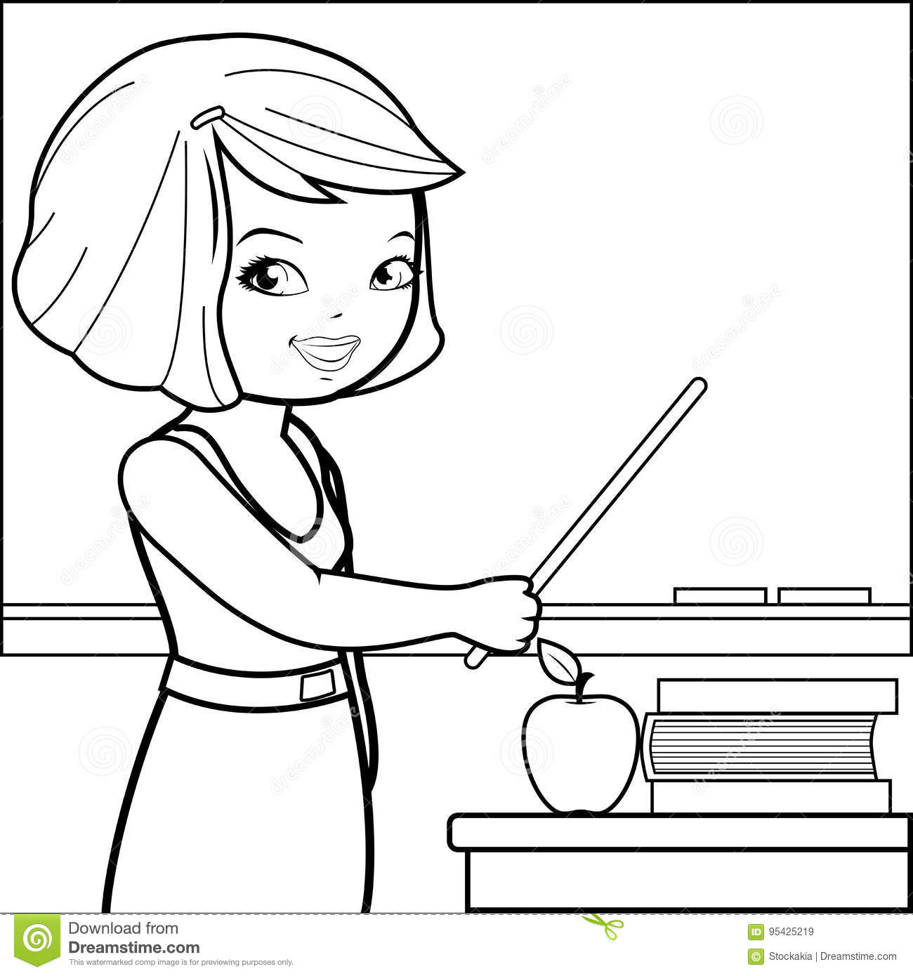 Teacher In The Classroom Pointing With A Stick At Blackboard And Teaching Black White Coloring Page Illustration