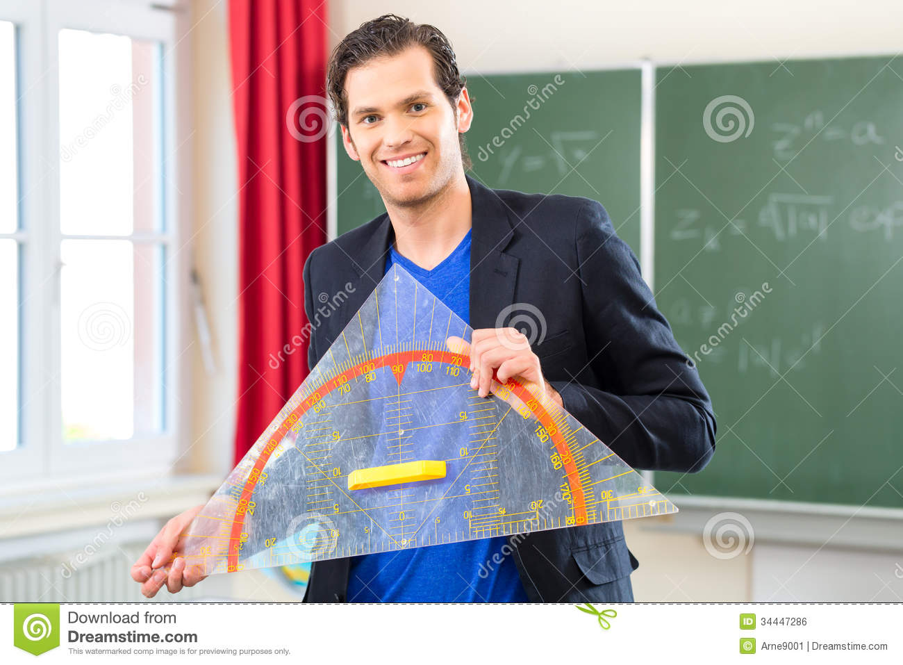 Teacher With Triangle In Front Of A School Class Royalty Free ...