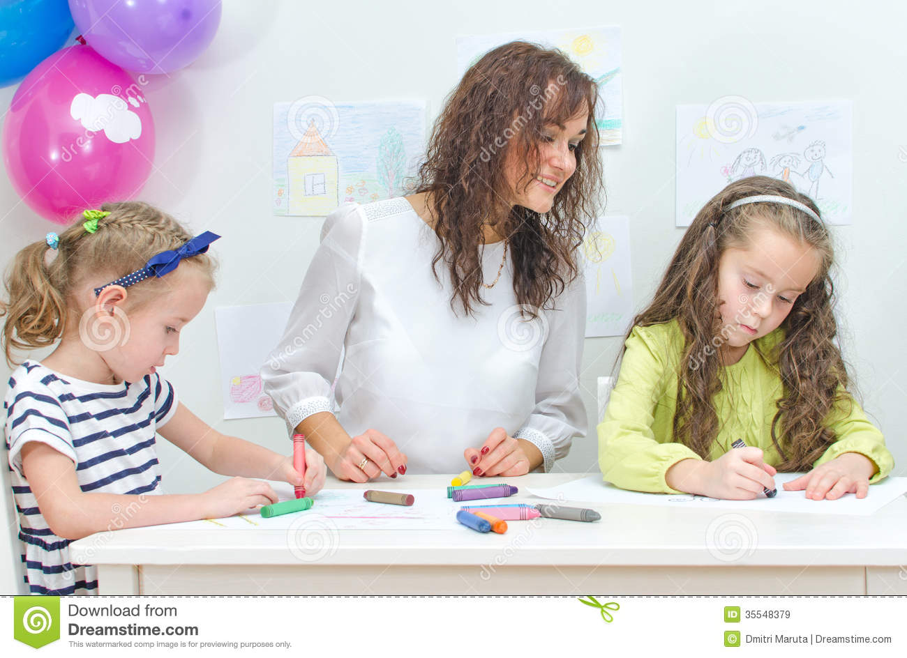 Teacher With Two Girls Royalty Free Stock Images - Image: 35548379