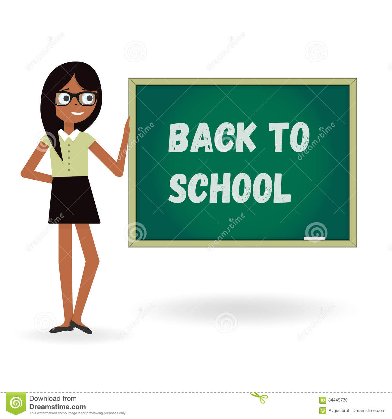 teacher woman back to school with board cartoon template