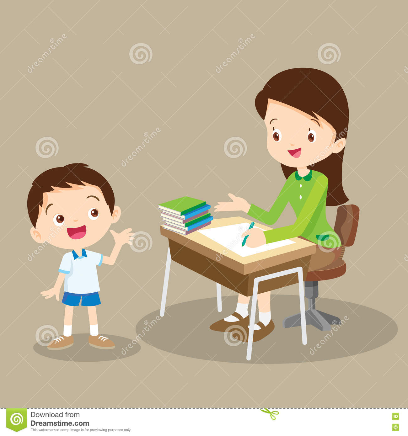 Teacher Working And Talk With Student Stock Vector ...
