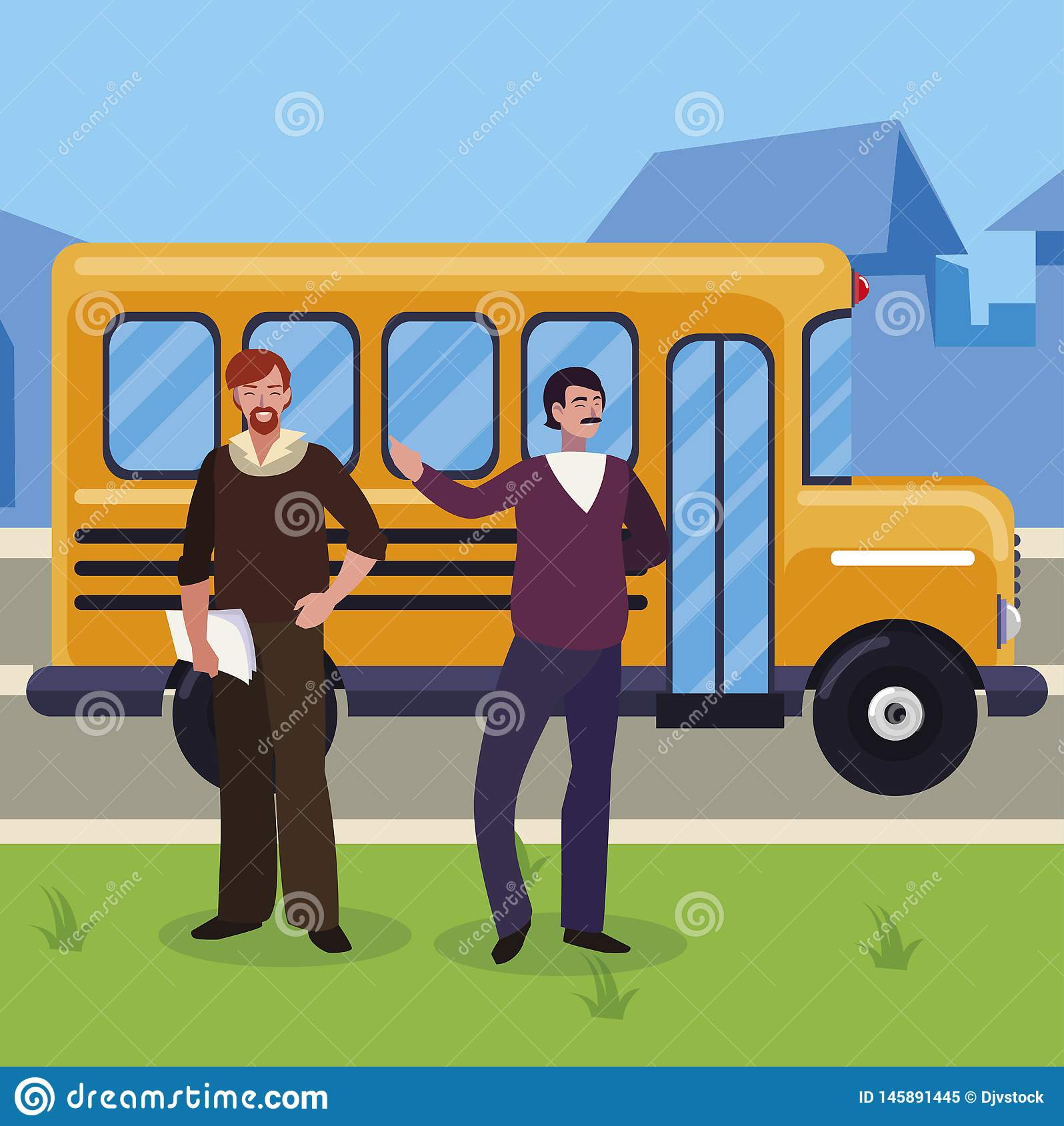 Teachers couple in bus stop. Vector illustration design royalty free stock photo