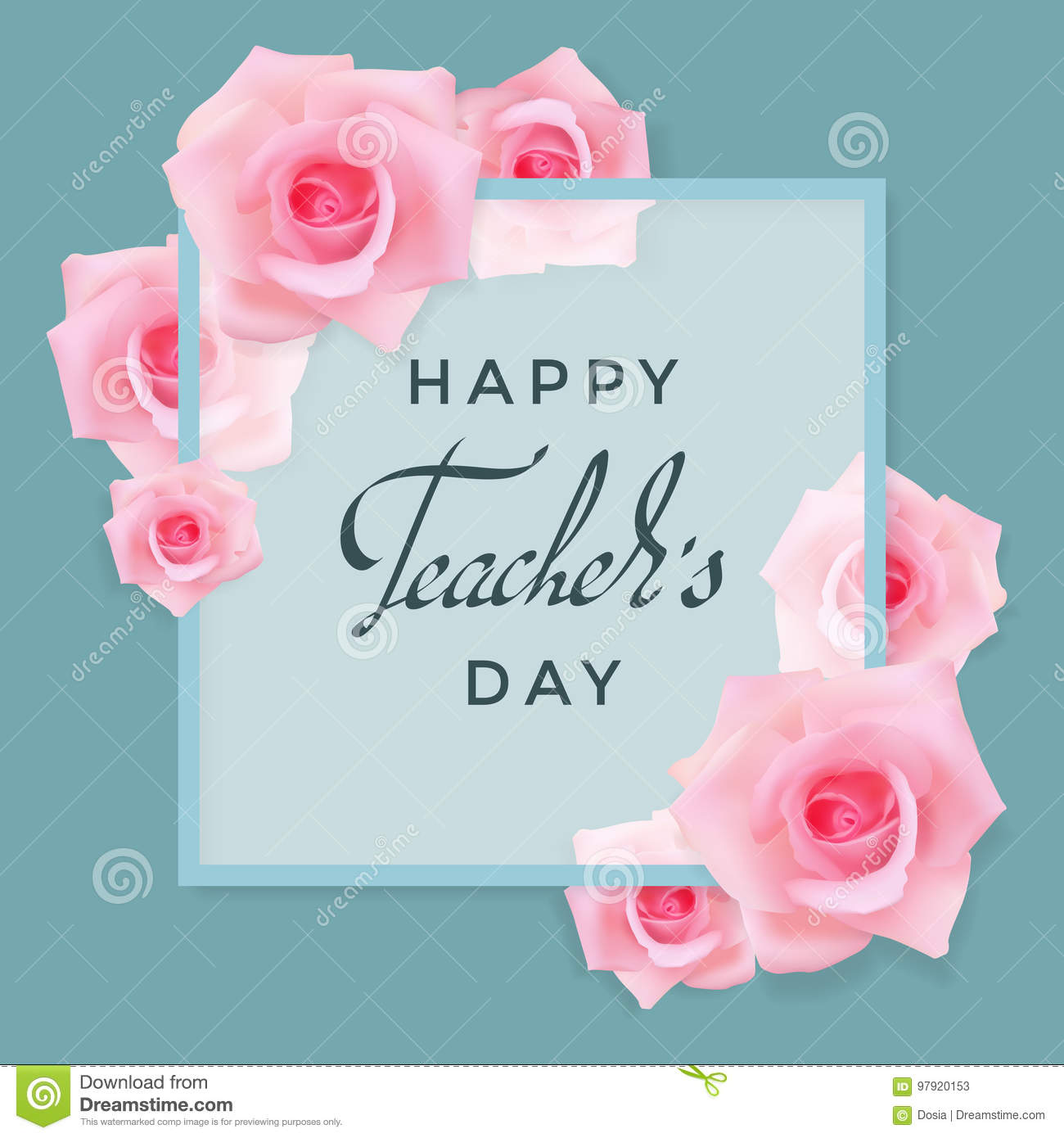 teachers day card with roses stock vector  illustration