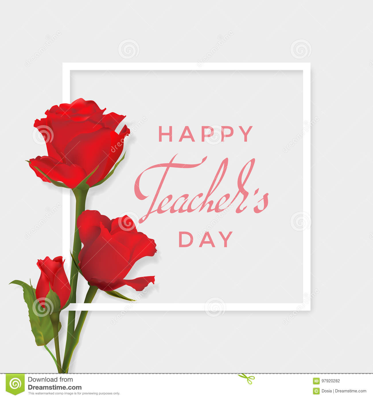 Teachers Day Card With Roses Stock Vector Illustration Of