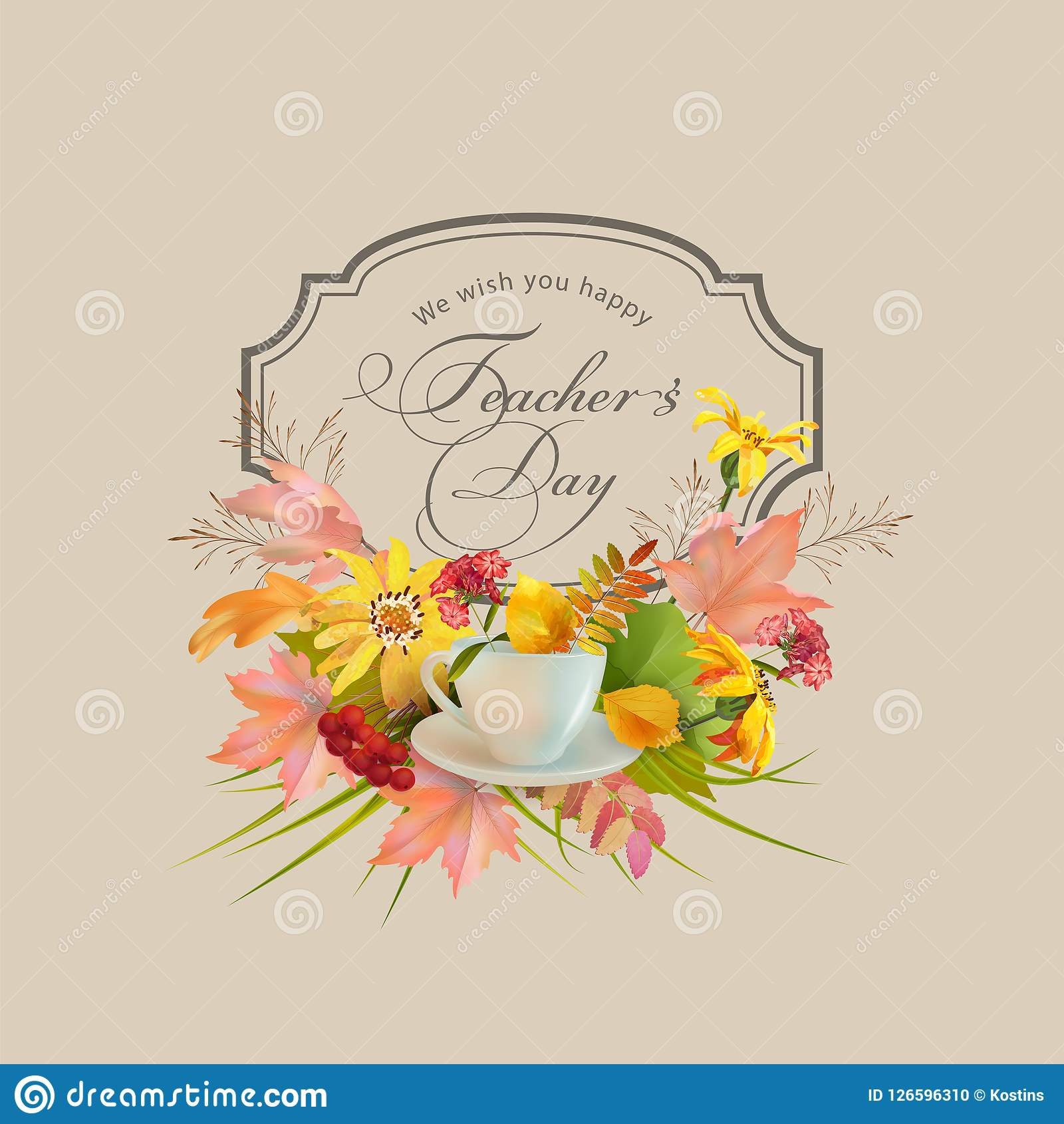 Teachers day greeting card stock vector illustration of inscription teachers day greeting card with autumn leaves and flowers happy teachers day inscription m4hsunfo