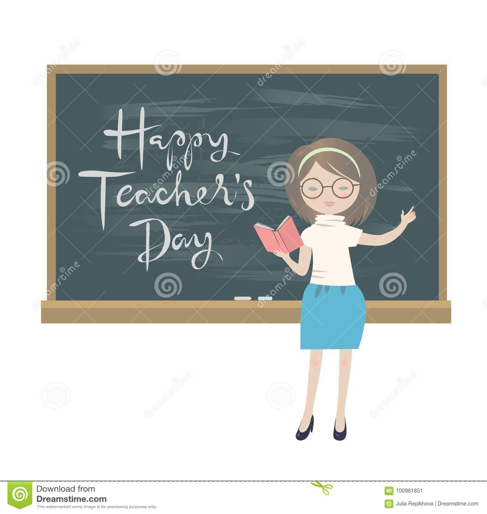Teachers Day Greeting Card A Teacher Standing At A Chalkboard Stock