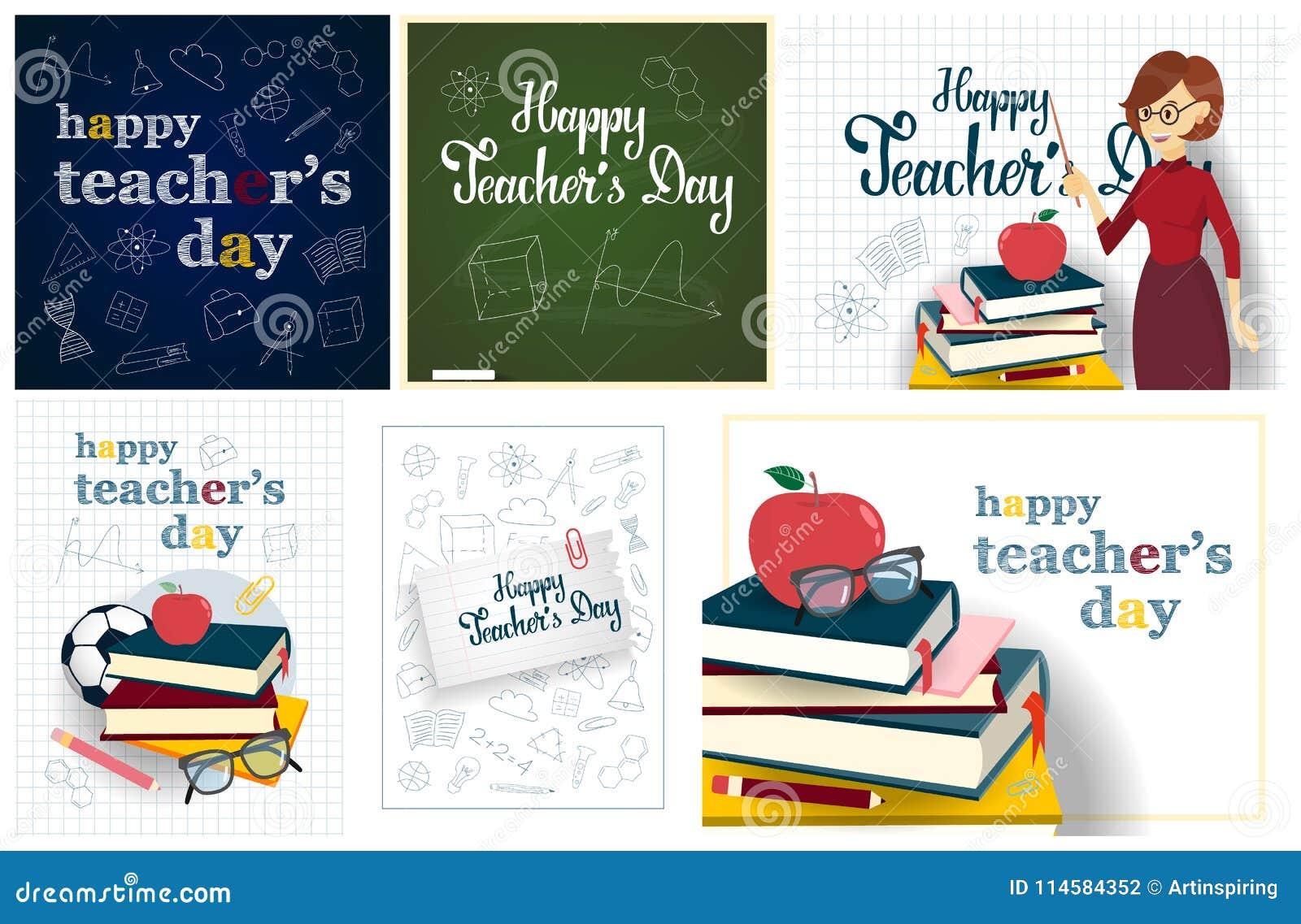 Teachers Day Set Stock Vector Illustration Of Handmade 114584352