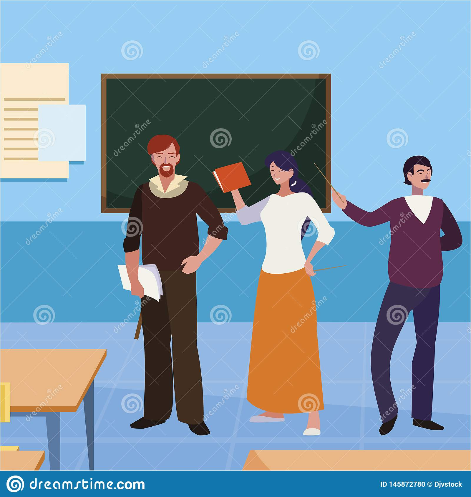 Teachers group in the classroom characters. Vector illustration design stock photo